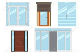 office entrance doors. Vector Collection Of Various Types Modern Entrance Doors For Office, Home, Store, Office