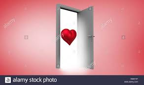 open door with red heart shape