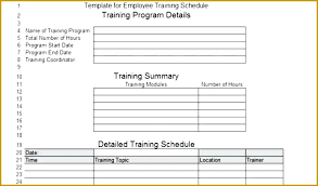 Employee Training Schedule Template Word Evaluation Excel New Plan