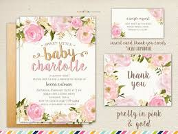 Girl Baby Shower Invitation Flowers And Pink Summer Spring