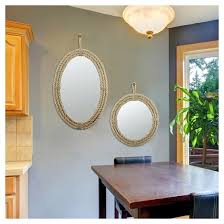 round decorative wall mirror with loop hanger rope ckk home