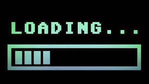 8-bit retro style loading text with progress bar, with color hue ...