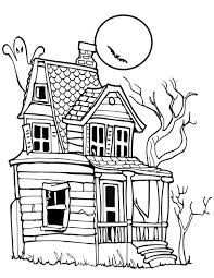 Small Picture Spooky Halloween Day House Coloring Page NetArt