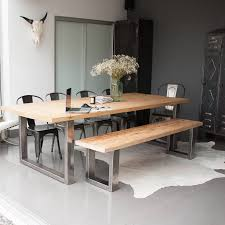 reclaimed pine and steel dining table bench and chairs