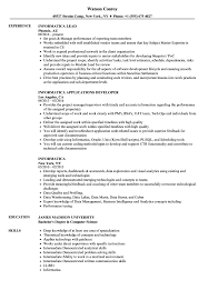 Informatica Sample Resumes Informatica Resume Samples Velvet Jobs 10