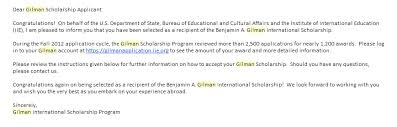 i ve been accepted for the gilman scholarship acirc wakingupinthailand the gilman e mail that i received i was soooooo happy that day thanks again to the people at gilman