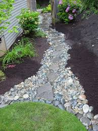 river rocks entry garden. River Rock Walkway. This Might Work On The Side Of My House, Where It Drains To Backyard. Rocks Entry Garden N