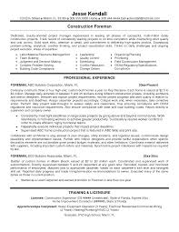 Catchy Construction Foreman Bookkeeper Resume With Labor Material
