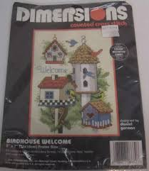 Details About Dimensions Birdhouse Welcome Counted Cross Stitch Kit Garden Birds