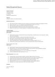 Receptionist Job Description Resume Medical Front Office Resume