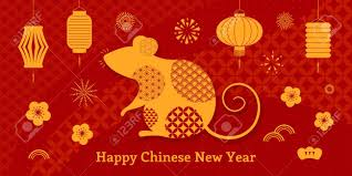 chinese new year card 2020 2020 chinese new year greeting card with rat silhouette fireworks