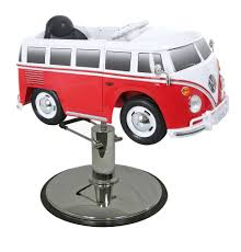 picture of red vw bus styling chair with your choice of base