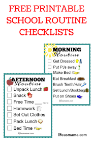 Morning Routine Printable Chart Free Printable School Routine Checklists Printables