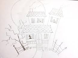 haunted house drawing. manelle oliphant illustration how to draw a haunted house: very easy - house drawing