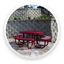 an umbrella hole is standard on the free standing picnic table the champion style s are offered with poly vinyl coated expanded metal and perforated