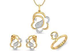 reya diamond pendant earring ring set in gold