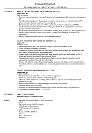 Object Oriented Programmer Resume Sample Amazing Templates Template