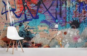 grunge graffiti brick wall wallpaper