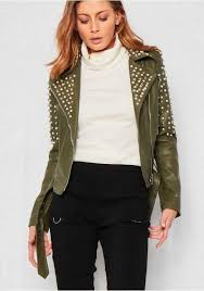 authorization women coats jackets black khaki metal kaley studded jacket co578388 cropped trousers studded collar faux leather leather by clothing