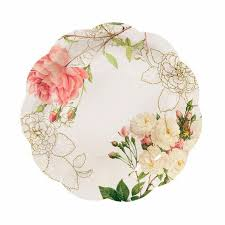 Pink Flower Paper Plates Pink Rose Paper Plates Set Of 12 Floral Paper By Paperbearman