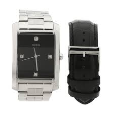 guess watches trends guess men s black leather boxed watch set
