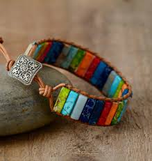 Chakra <b>Bracelet</b> Jewelry Handmade Multi Color <b>Natural Stone</b> Tube ...