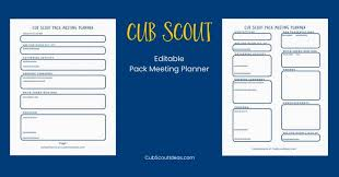Free Cub Scout Pack Meeting Planner Cub Scout Ideas