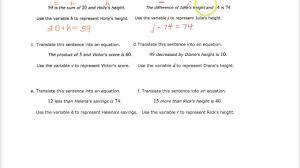 translating sentences into equations part 1 one step equations