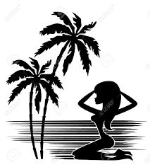 Tropiques Une Silhouette De Palmiers Et D Une Femme Sur Un Fond
