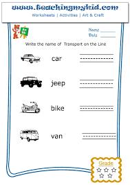 Kindergarten activities - Write the name of each transport - 1
