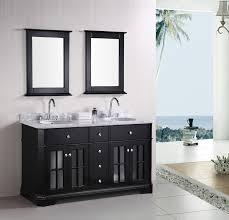 furniture rectangle black wooden washstand vanity with white sinks and double stanless steel curved brilliant bathroom vanity mirrors decoration black wall