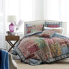 Dark Elegance Floral Quilt Bedspread Set, Burgundy Red & Navy ... & Dark Elegance Floral Quilt Bedspread Set, Burgundy Red & Navy, Queen, 3- Adamdwight.com