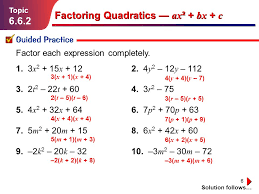 6 factoring quadratics