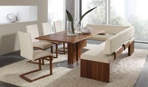 Dining room: Graceful Dining Room Set With Bench And White Fur Rug With  Sliding Glass