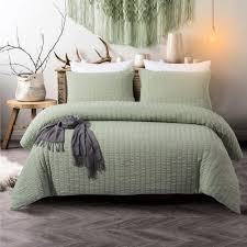 3 pieces sage green bedding seerer duvet cover set green seerer and dark