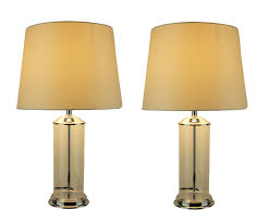 Clear Glass Cylinder Fillable Table Lamp With White Fabric Shade Set Of 2