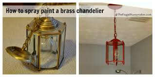 how to spray paint a brass light fixture or the red chandelier in my bathroom beach inspired bathroom makeover part 3