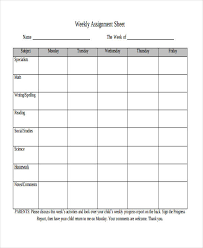 weekly assignment template weekly sheet templates 10 free word pdf format download free