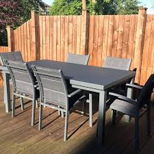 outdoor table set large 8 modern grey automatic extension dining table metal glass garden furniture set