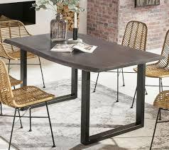 Esstisch Baumkante 120 X 80 Cm Akazie Grau Tischbeine Schwarz Neu