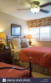 Twin Bed Guest Room In Upscale Home, Florida, USA   Stock Image