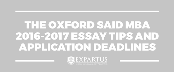the oxford said business school essay tips