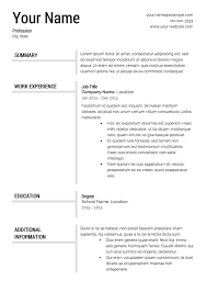 Free Templates For Resume