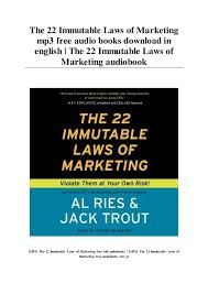 22 Immutable Laws Of Marketing The 22 Immutable Laws Of Marketing Mp3 Free Audio Books