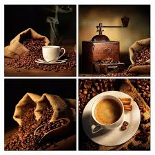 <b>4 Panels Canvas Painting</b> Coffee background Print Painting On ...