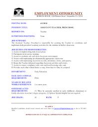 Preschool Assistant Sample Resume Sample Resume For Preschool Teacher Assistant Ninja 2