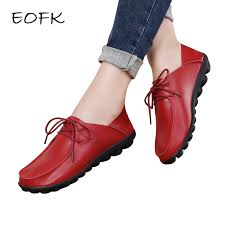 EOFK <b>2019</b> Spring Autumn <b>Shoes</b> Woman <b>Genuine Leather Shoes</b> ...
