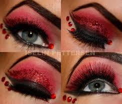 for haloween bold red and black eye shadow with red glitter and crystals aptly led the devil i actually really like this red black makeup with a