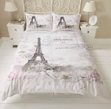 Paris eiffel tower floral roses calligraphy script duvet set quilt ... & Paris eiffel tower floral roses calligraphy script duvet set quilt cover  bedding Adamdwight.com