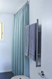 ceiling mounted shower curtain rod turquoise tweed pleated shower curtain in modern bathroom reno